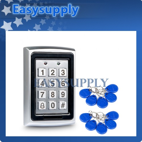 New RFID Reader Door Access Control + 10 Key Fobs